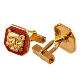 TOYECC - Goldsmiths Gold-Plated Silver Vitreous Enamel Cufflinks | T-Bar