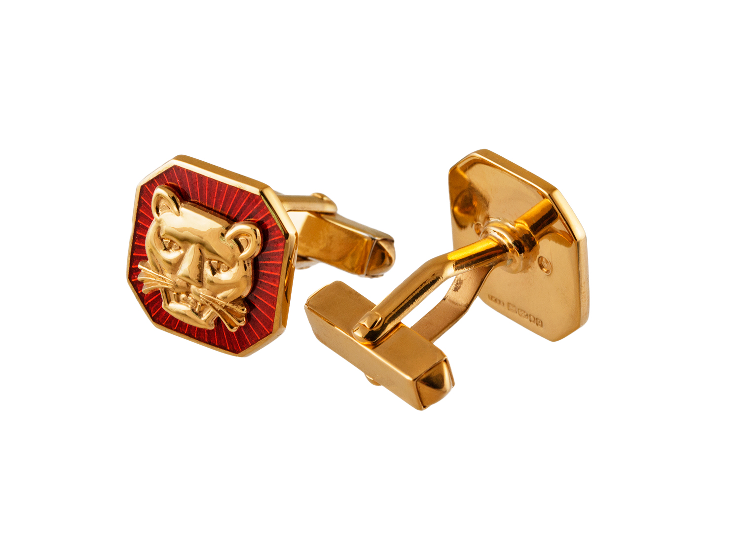TOYECC - Goldsmiths Gold-Plated Silver Vitreous Enamel Cufflinks | T-Bar