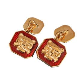 TOYECC - Goldsmiths Gold-Plated Silver Vitreous Enamel Cufflinks | Chain-Link