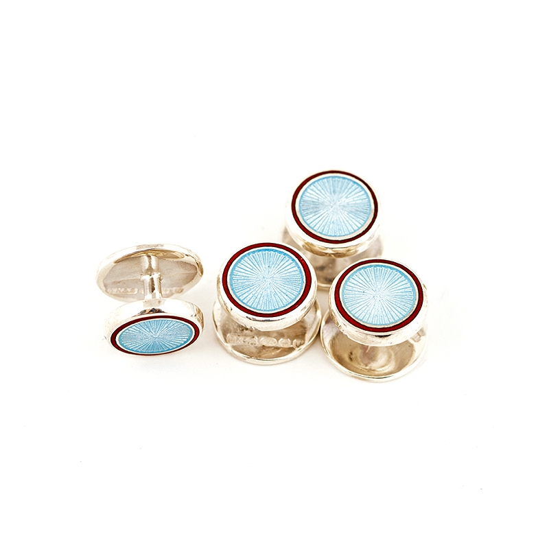 TOYECC - OBE Hallmarked Silver and Vitreous Enamel Dress Studs